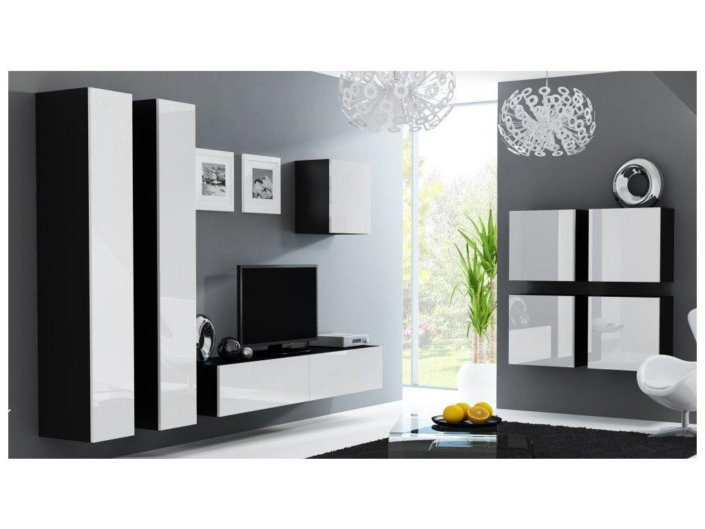 Artcam Obývacia stena Vigo 24 Farba: čierna/biely lesk