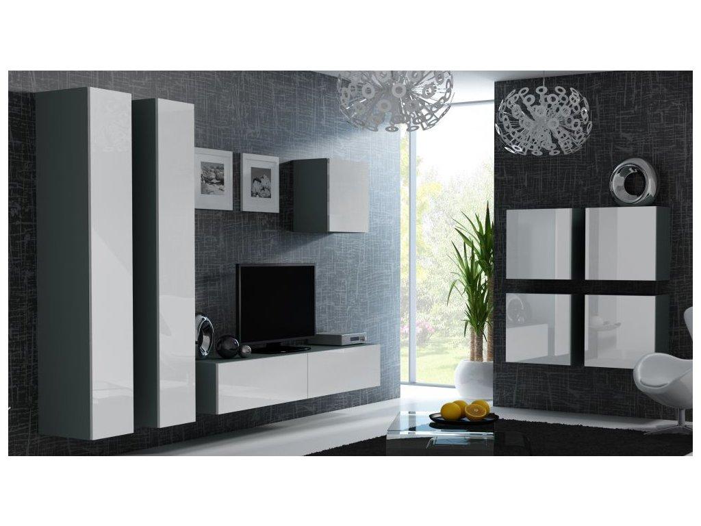 Artcam Obývacia stena Vigo 24 Farba: Sivá/biely lesk
