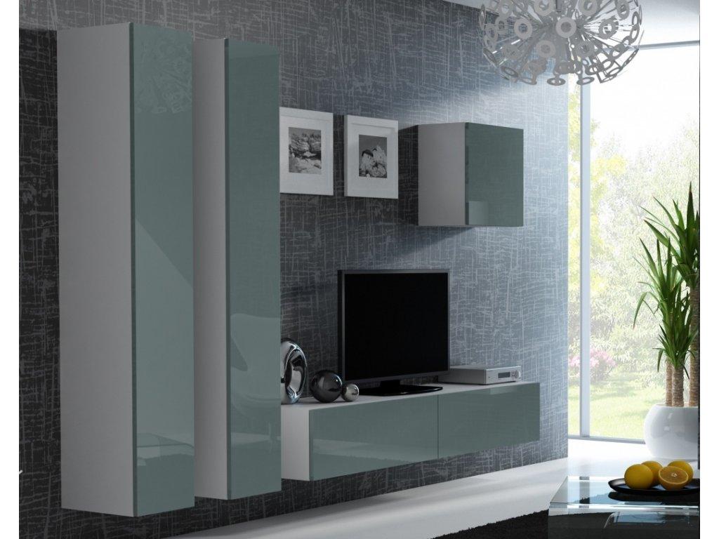 Artcam Obývacia stena Vigo 25 Farba: Biela/sivý lesk