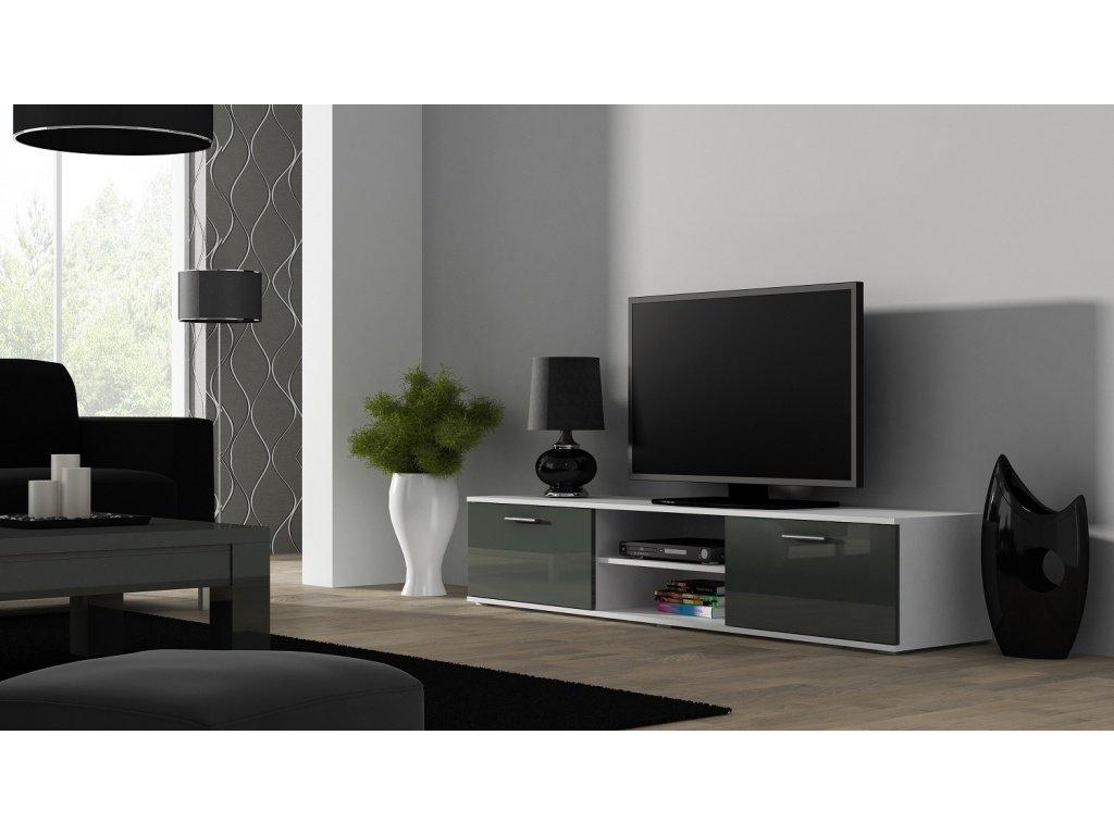Artcam TV stolík SOHO 180 cm Farba: Biela/sivý lesk