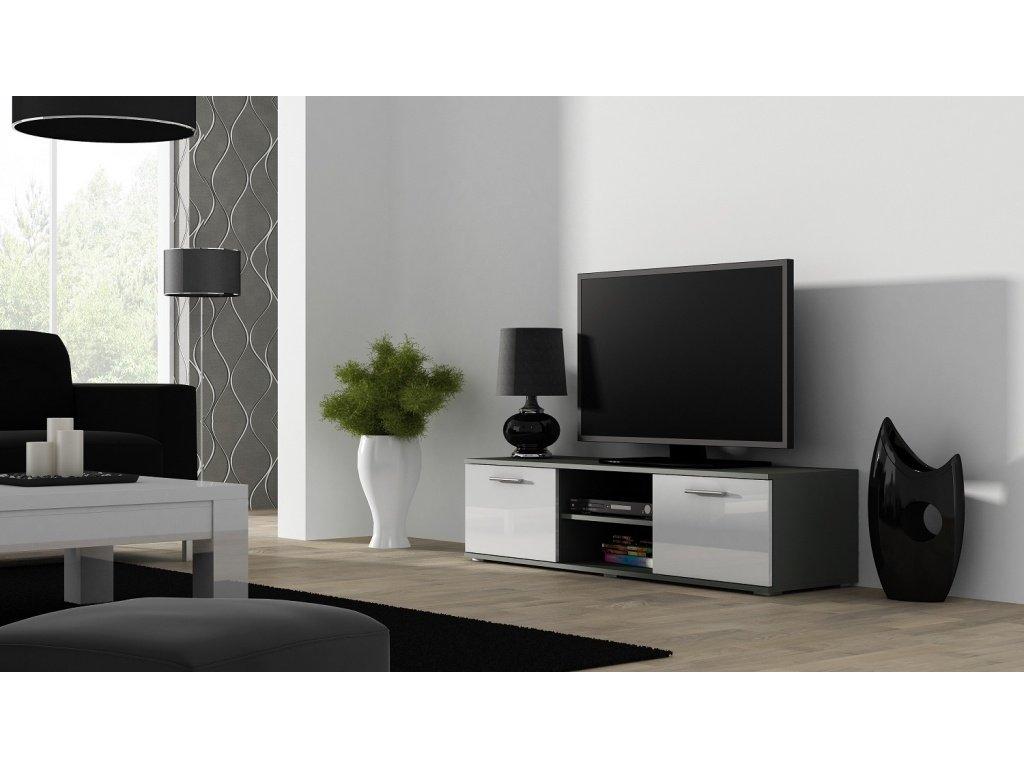 Artcam TV stolík SOHO 180 cm Farba: Sivá/biely lesk