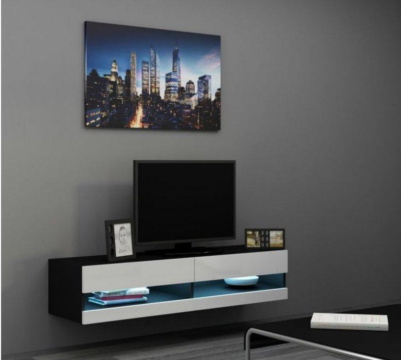 Artcam RTV stolík VIGO NEW 140 cm Farba: čierna/biely lesk