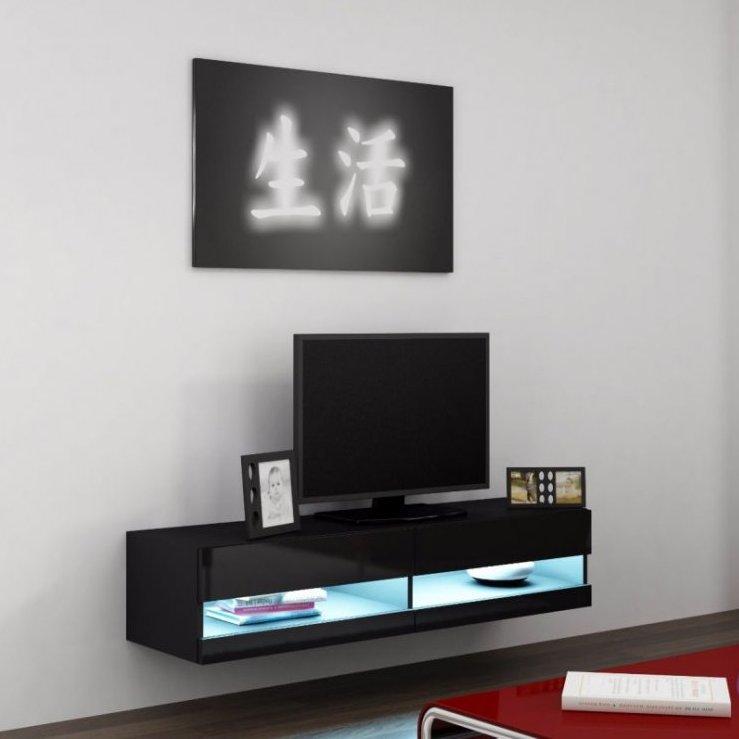 Artcam RTV stolík VIGO NEW 140 cm Farba: Čierna/čierny lesk