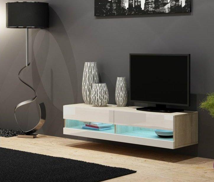 Artcam RTV stolík VIGO NEW 140 cm Farba: dub sonoma/biely lesk