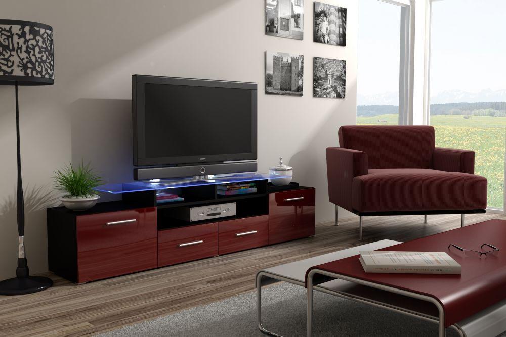 Artcam RTV stolík EVORA čierna Farba: Čierna/bordová