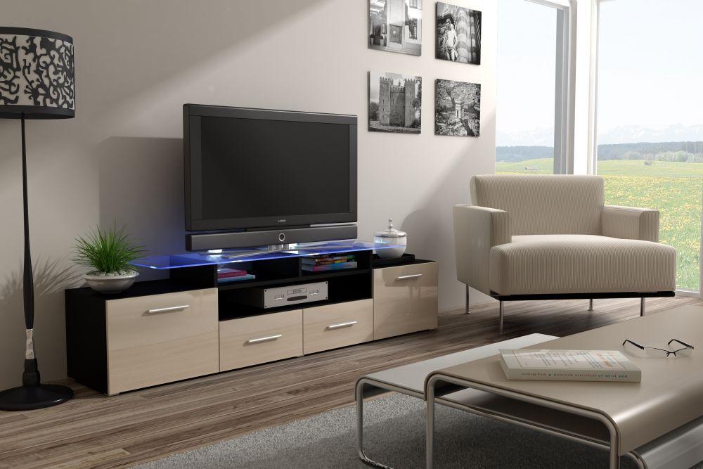Artcam RTV stolík EVORA čierna Farba: Čierna/krémová