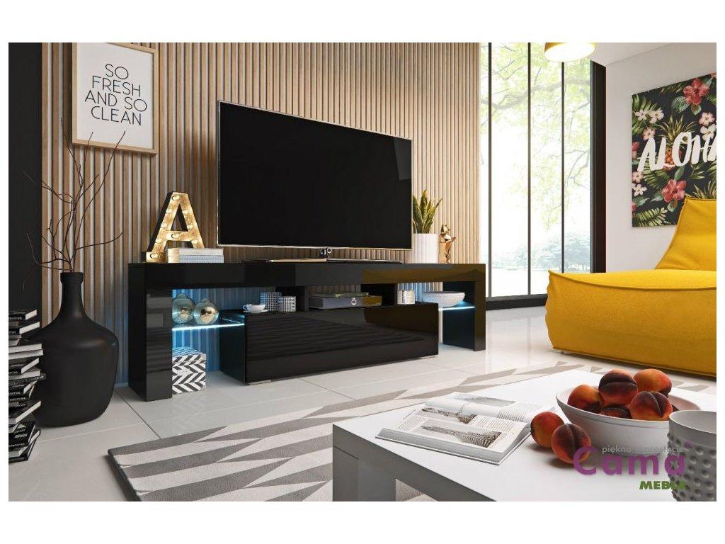 Artcam RTV stolík TORO 158 cm Farba: Čierna/čierny lesk