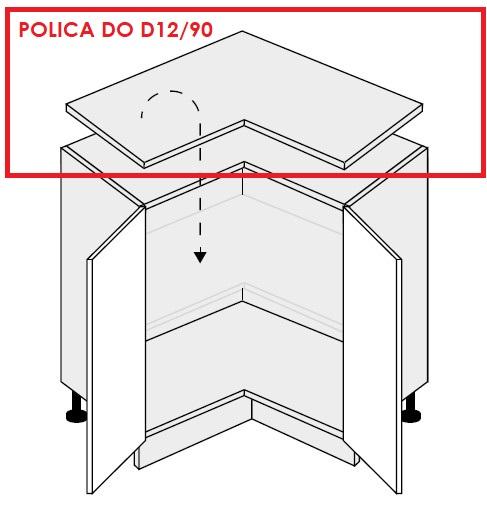 ArtExt Kuchynská skrinka spodná rohová, D12/90 Quantum Prevedenie: Polica do D12/90
