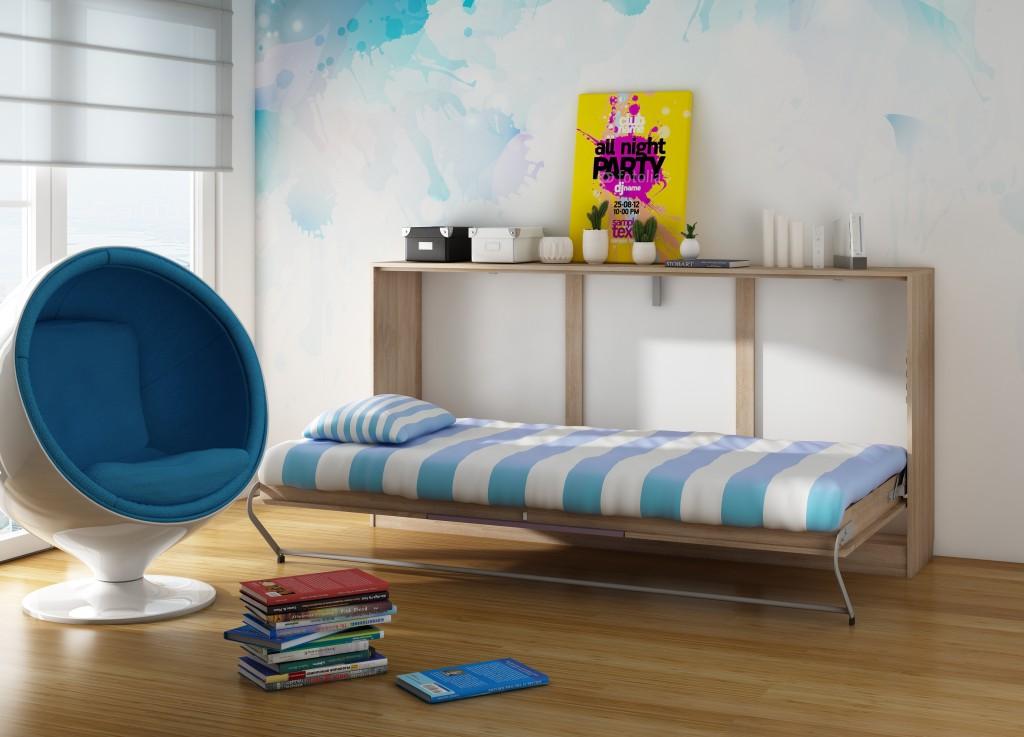 WIP Moderná sklápacia posteľ ROGER Farba: dub sonoma svetlý/fialová