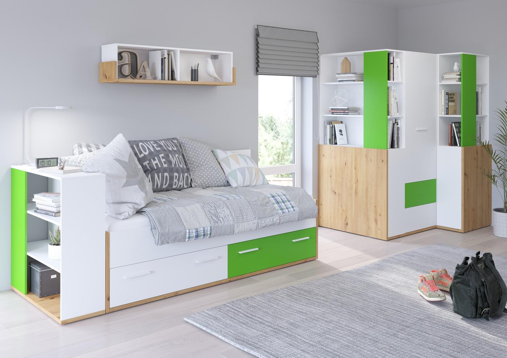 WIP Detská izba HEY 5 Farba: Dub artisan/biela/zelená