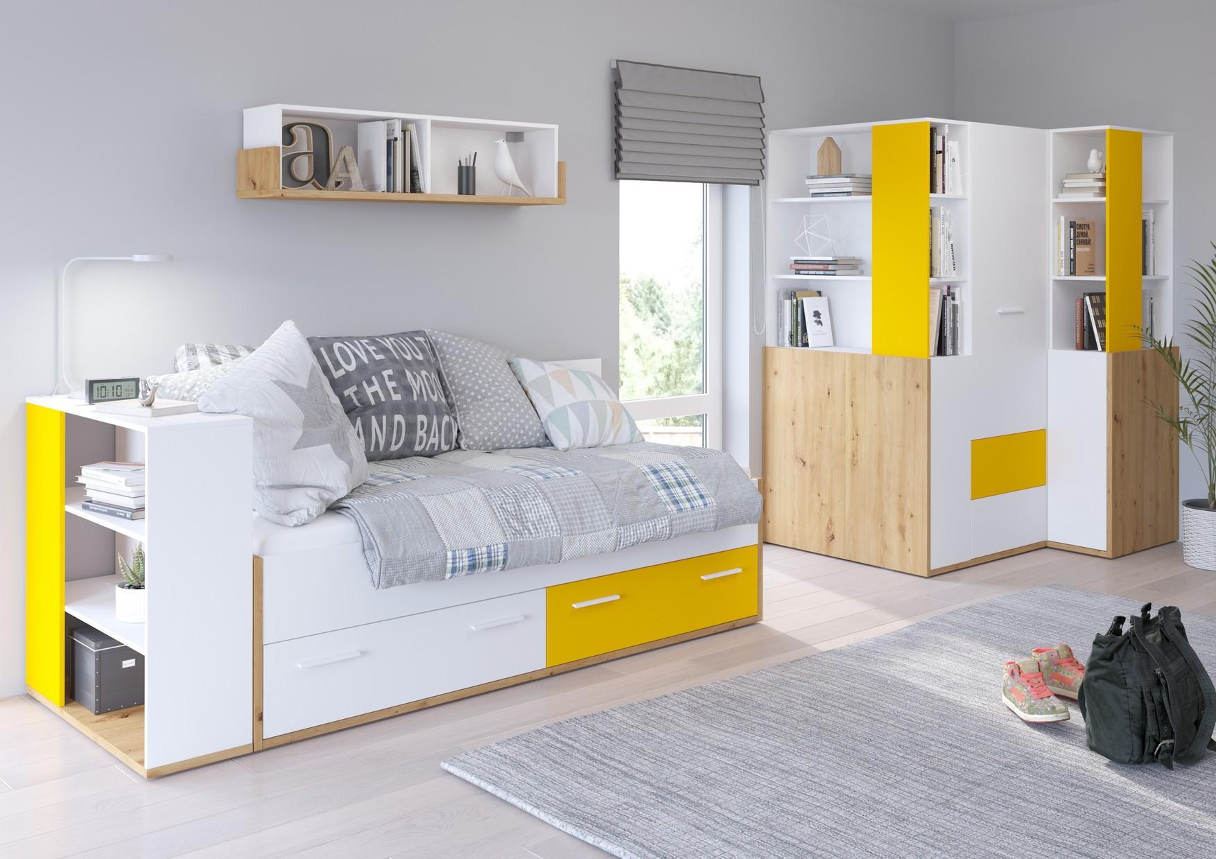 WIP Detská izba HEY 5 Farba: Dub artisan/biela/žltá