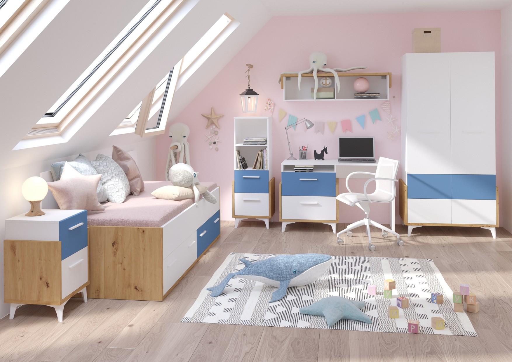 WIP Detská izba HEY 1 Farba: Dub artisan/biela/modrá