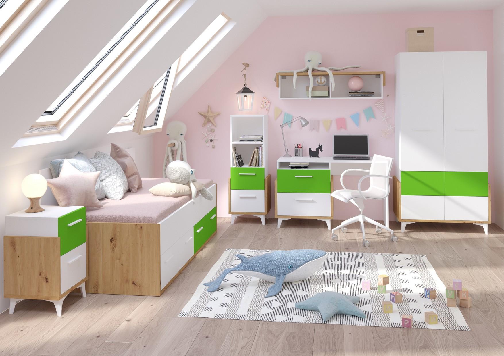 WIP Detská izba HEY 1 Farba: Dub artisan/biela/zelená