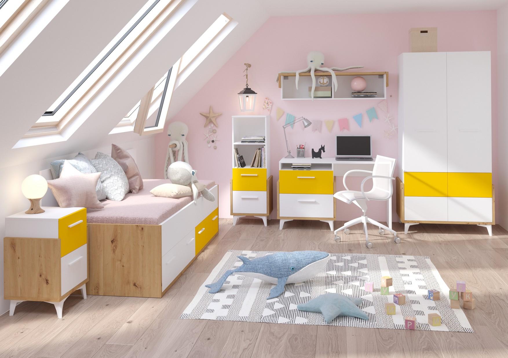 WIP Detská izba HEY 1 Farba: Dub artisan/biela/žltá