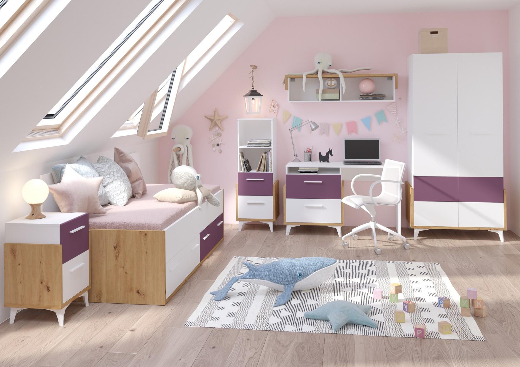 WIP Detská izba HEY 1 Farba: Dub artisan/biela/fialová