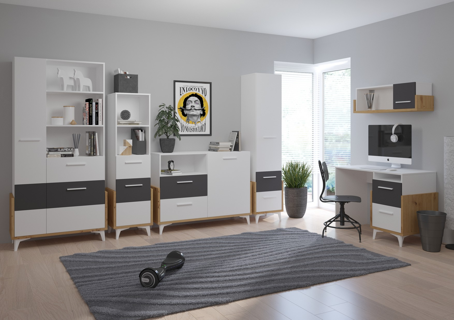 WIP Detská izba HEY 2 Farba: Dub artisan/biela/grafit