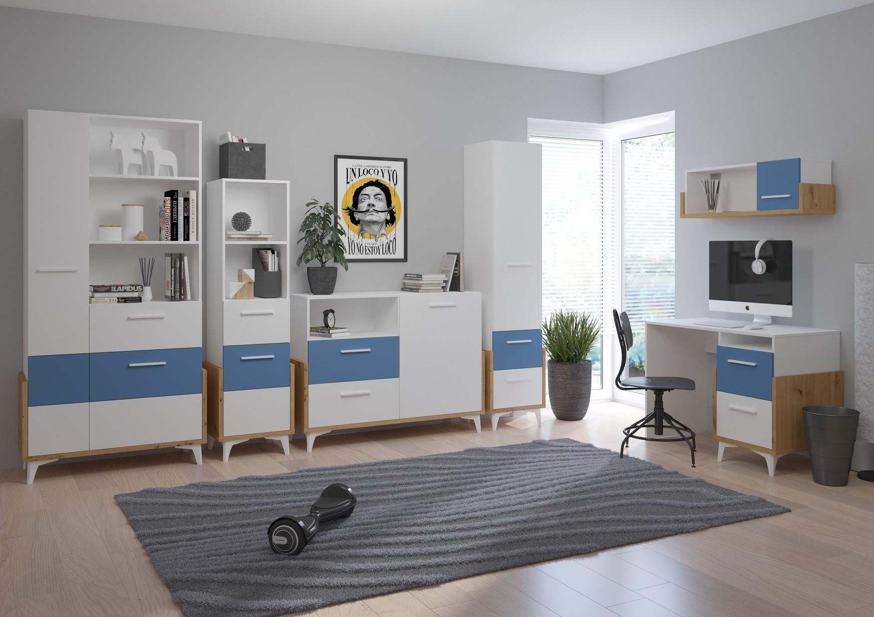WIP Detská izba HEY 2 Farba: Dub artisan/biela/modrá