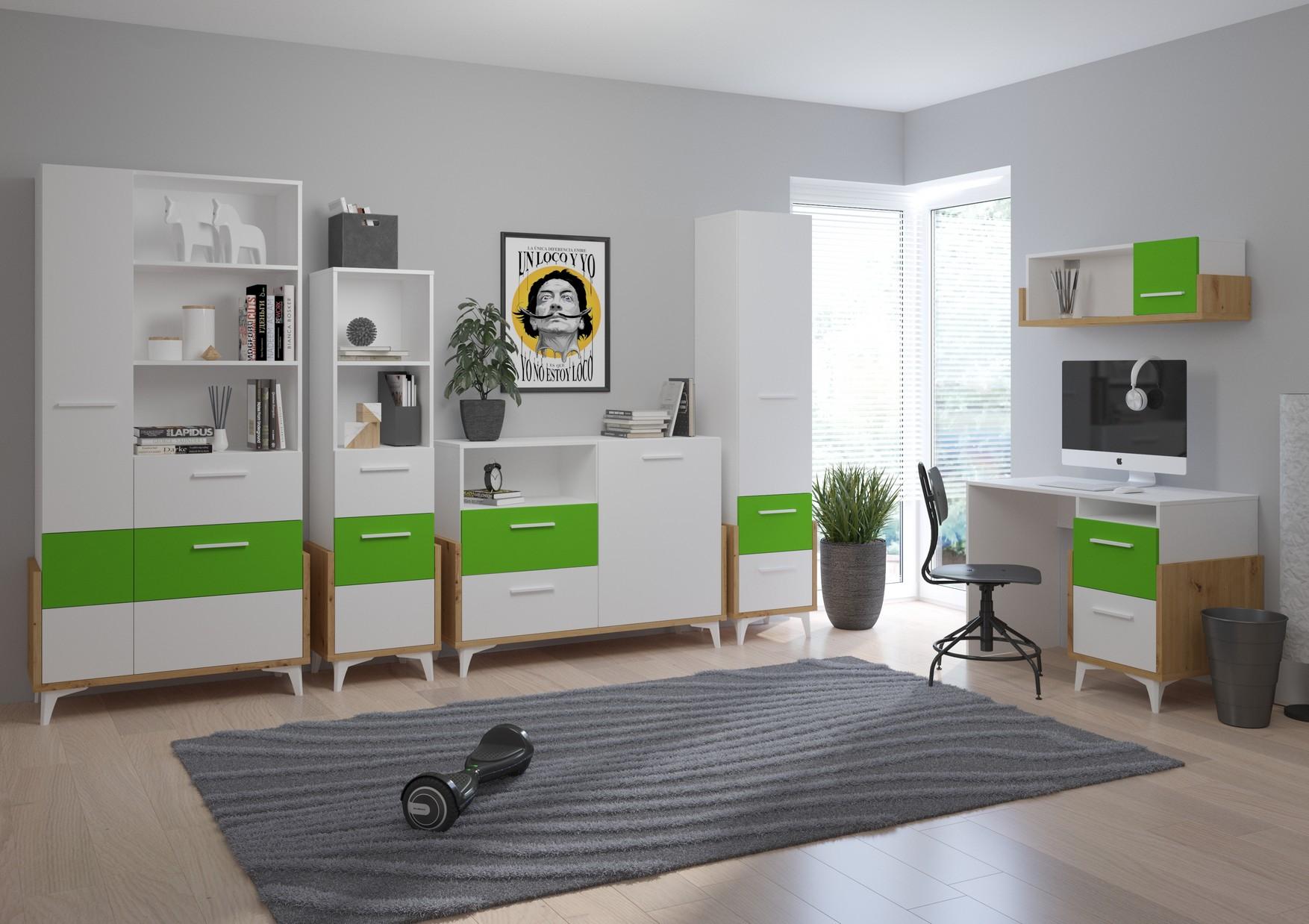 WIP Detská izba HEY 2 Farba: Dub artisan/biela/zelená