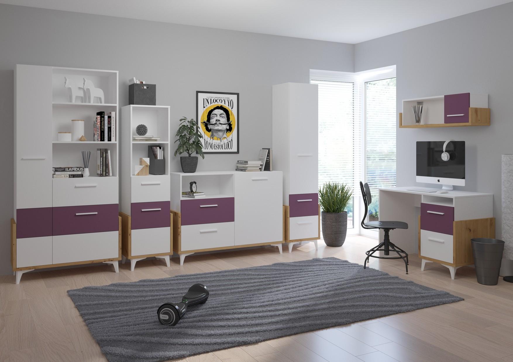 WIP Detská izba HEY 2 Farba: Dub artisan/biela/fialová