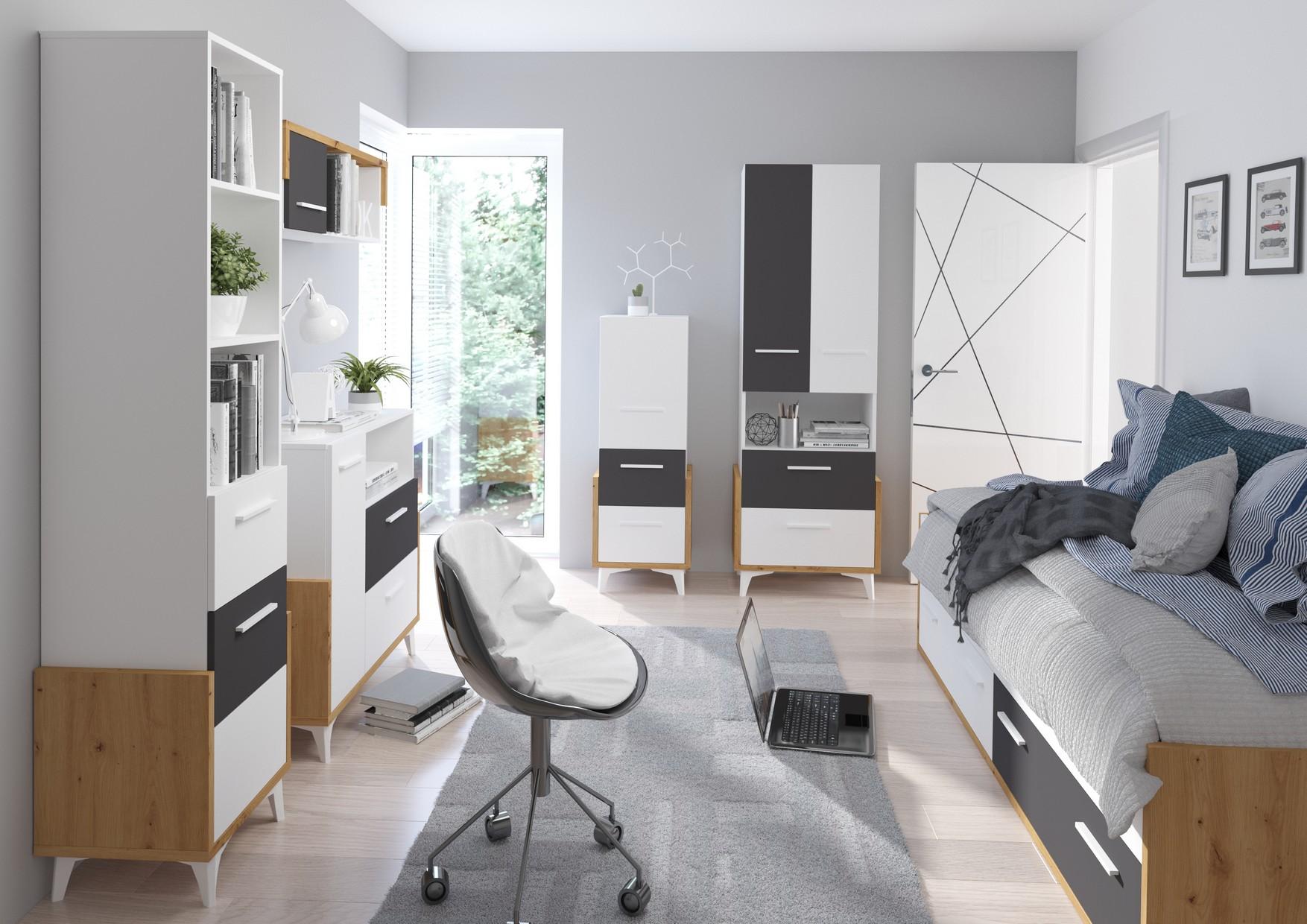 WIP Detská izba HEY 3 Farba: Dub artisan/biela/grafit