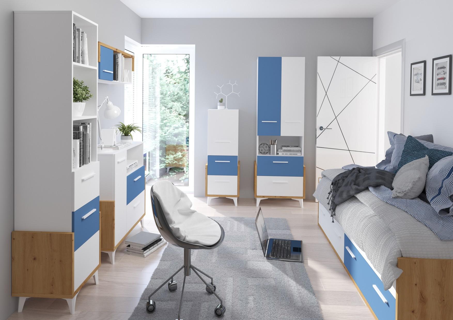 WIP Detská izba HEY 3 Farba: Dub artisan/biela/modrá