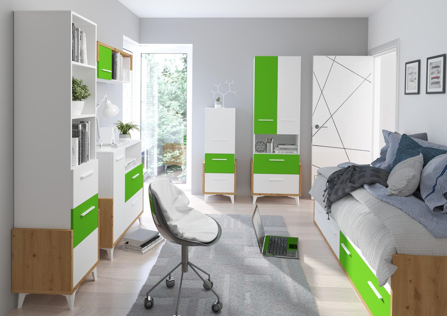 WIP Detská izba HEY 3 Farba: Dub artisan/biela/zelená