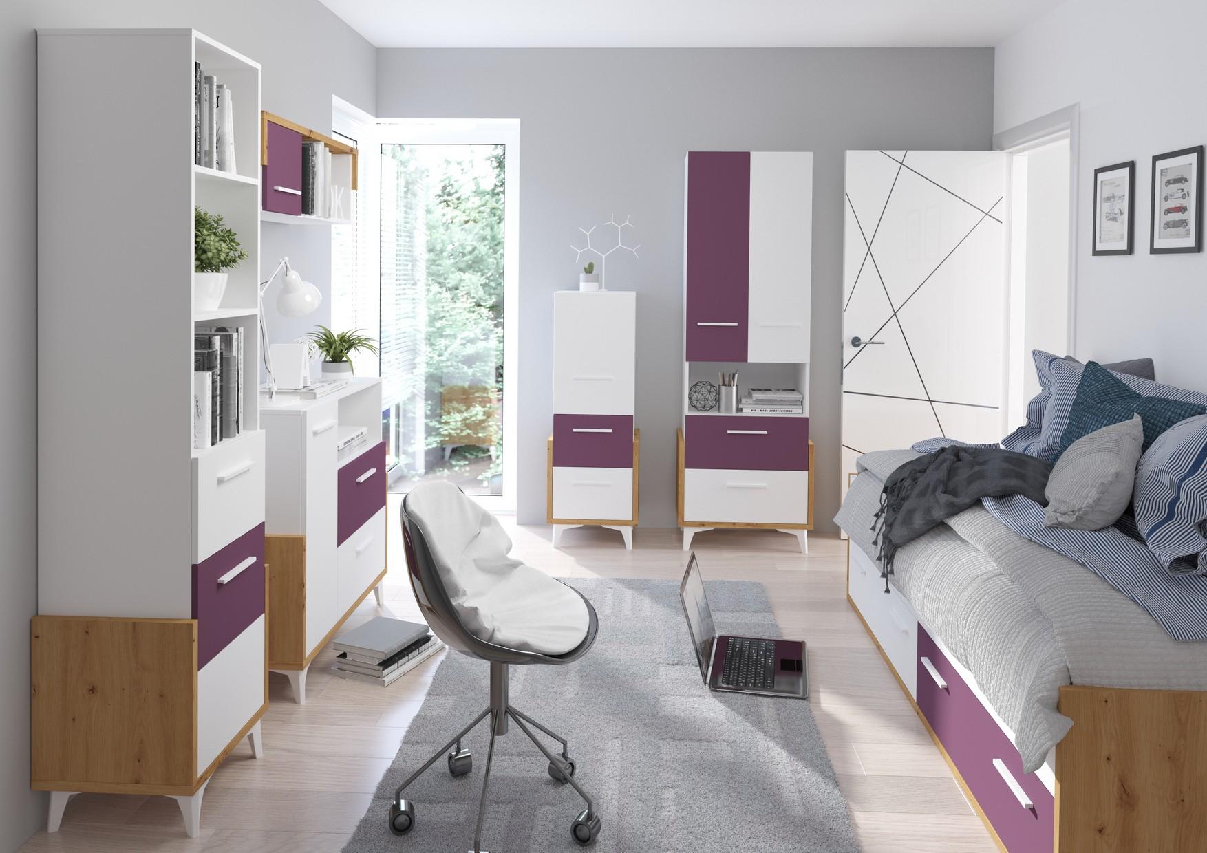 WIP Detská izba HEY 3 Farba: Dub artisan/biela/fialová