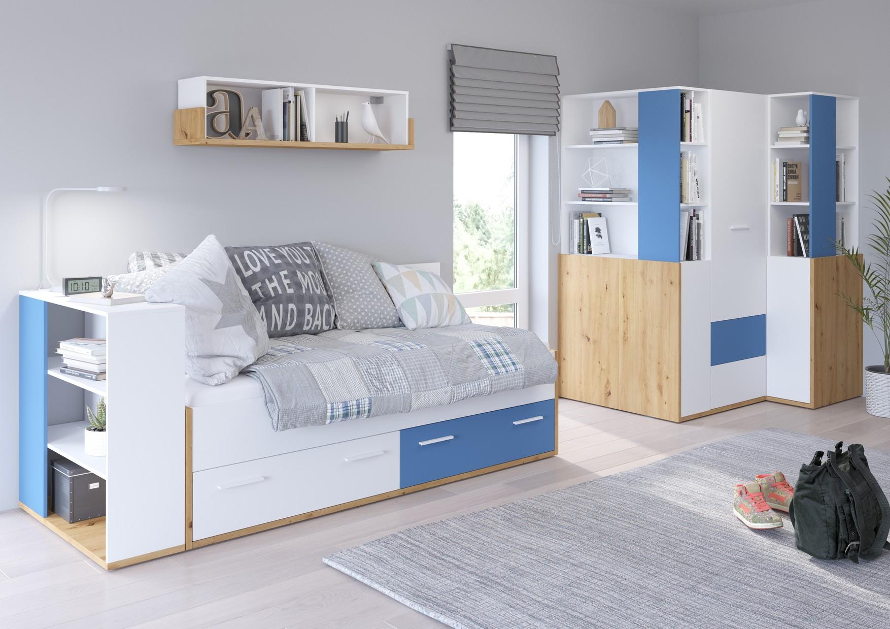 WIP Detská izba HEY 4 Farba: Dub artisan/biela/modrá