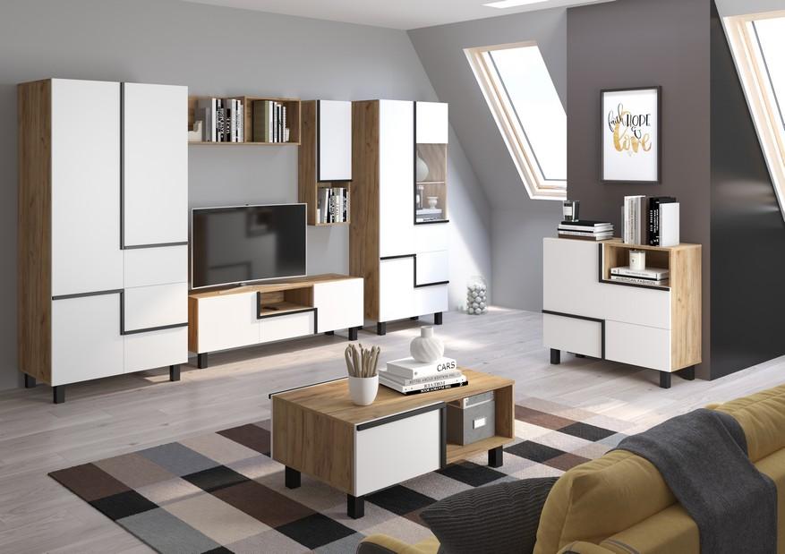 WIP Obývacia stena LARS 2 Farba: craft zlatá/biela