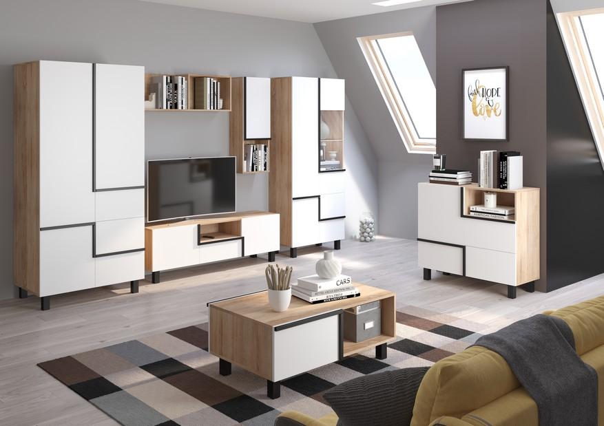 WIP Obývacia stena LARS 2 Farba: dub sonoma svetlá/biela