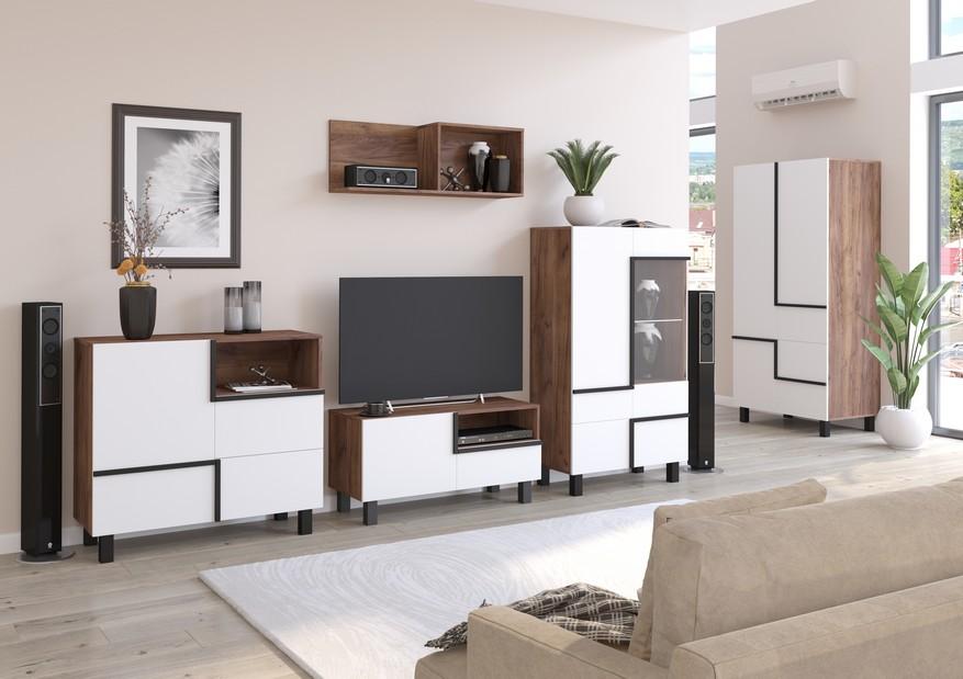 WIP Obývacia stena LARS 3 Farba: craft tobaco/biela