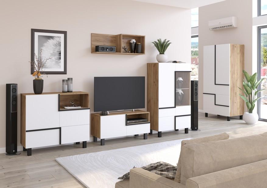 WIP Obývacia stena LARS 3 Farba: craft zlatá/biela