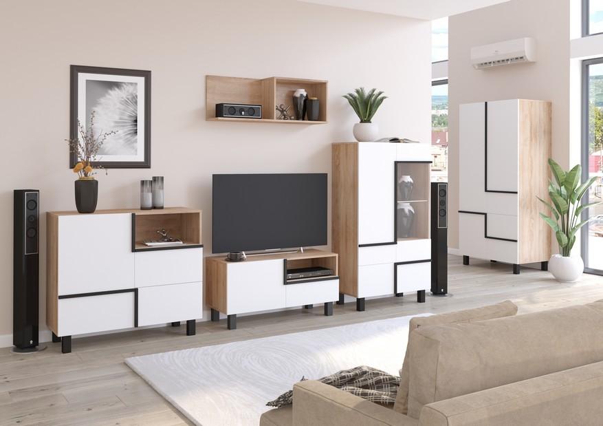 WIP Obývacia stena LARS 3 Farba: dub sonoma svetlá/biela