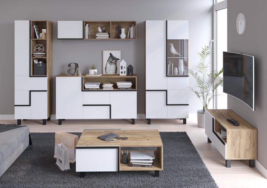 WIP Obývacia stena LARS 4 Farba: craft zlatá/biela