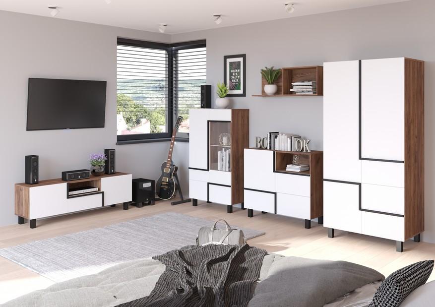 WIP Obývacia stena LARS 5 Farba: craft tobaco/biela