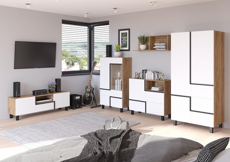 WIP Obývacia stena LARS 5 Farba: craft zlatá/biela