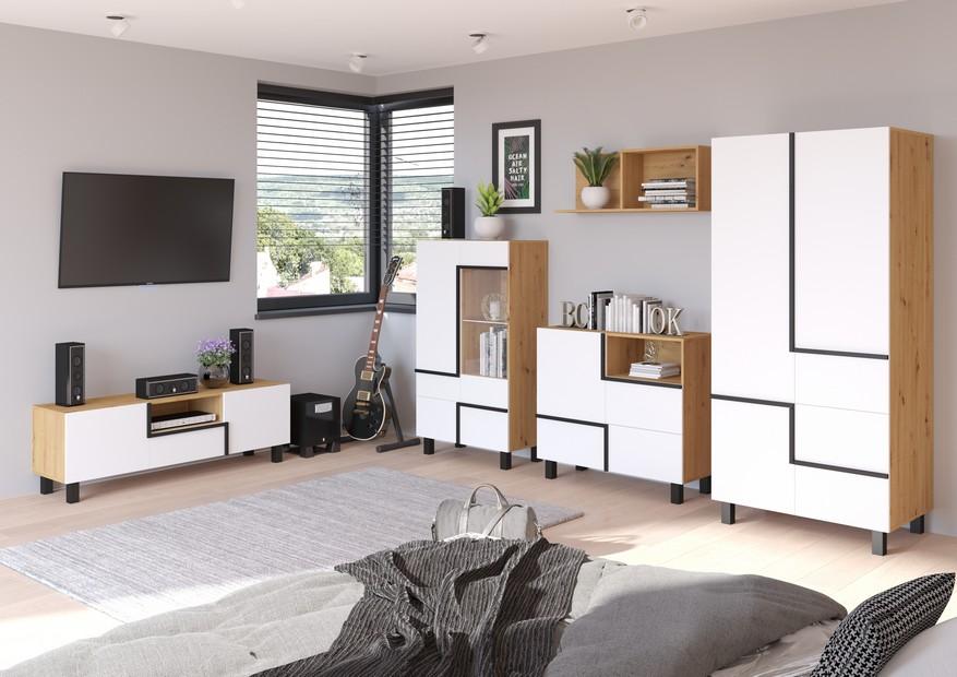 WIP Obývacia stena LARS 5 Farba: Dub ARTISAN/biela