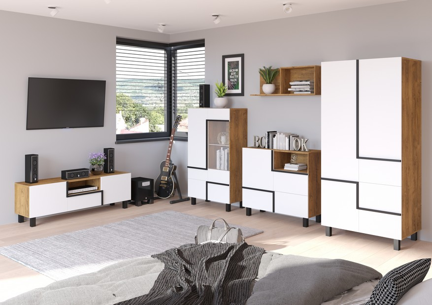 WIP Obývacia stena LARS 5 Farba: Dub burgundsky/biela