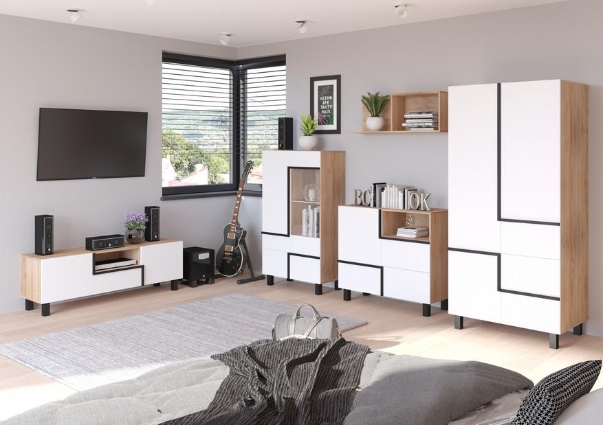 WIP Obývacia stena LARS 5 Farba: dub sonoma svetlá/biela