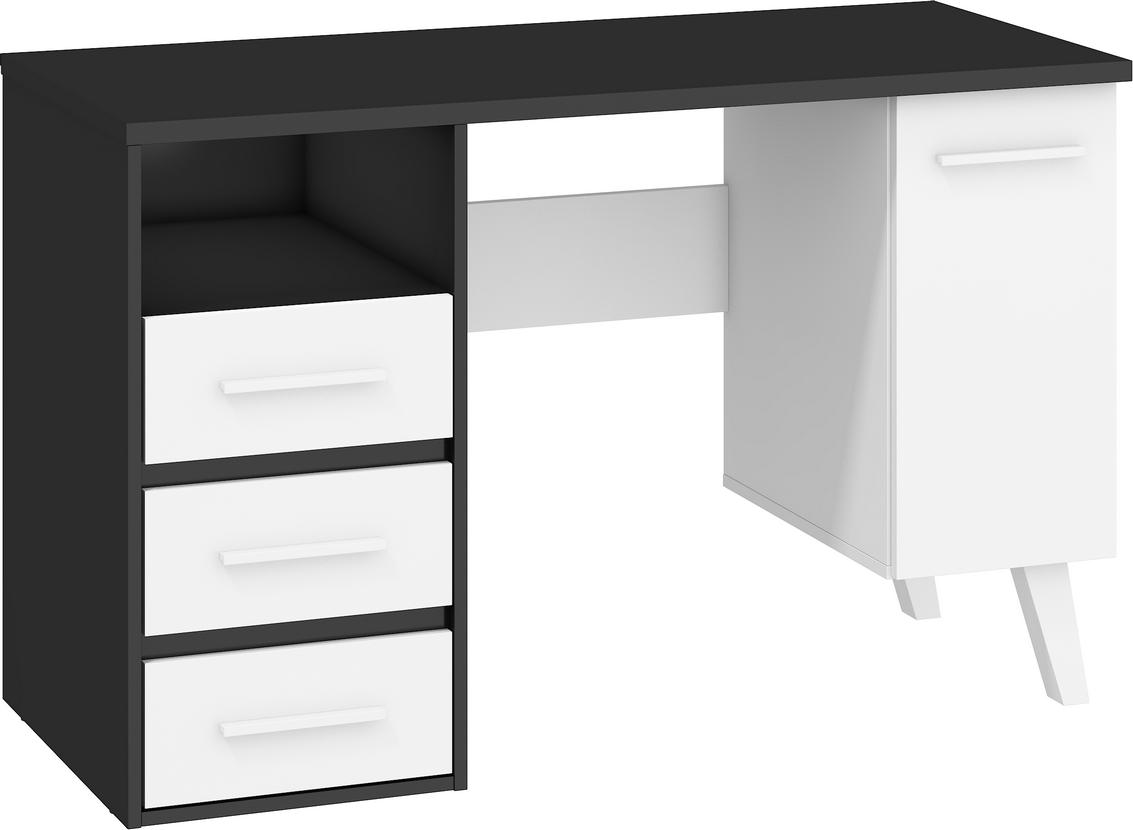 WIP PC stôl NORDIS-01/1D1S Farba: Čierna/biela