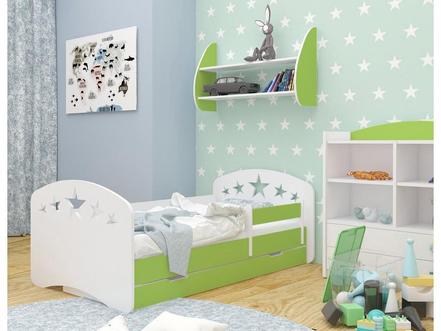 Happy Babies Detská posteľ Happy dizajn/hviezdičky Farba: Zelená / Biela, Prevedenie: L04 / 80 x 160 cm /S úložným priestorom, Obrázok: Hviezdičky