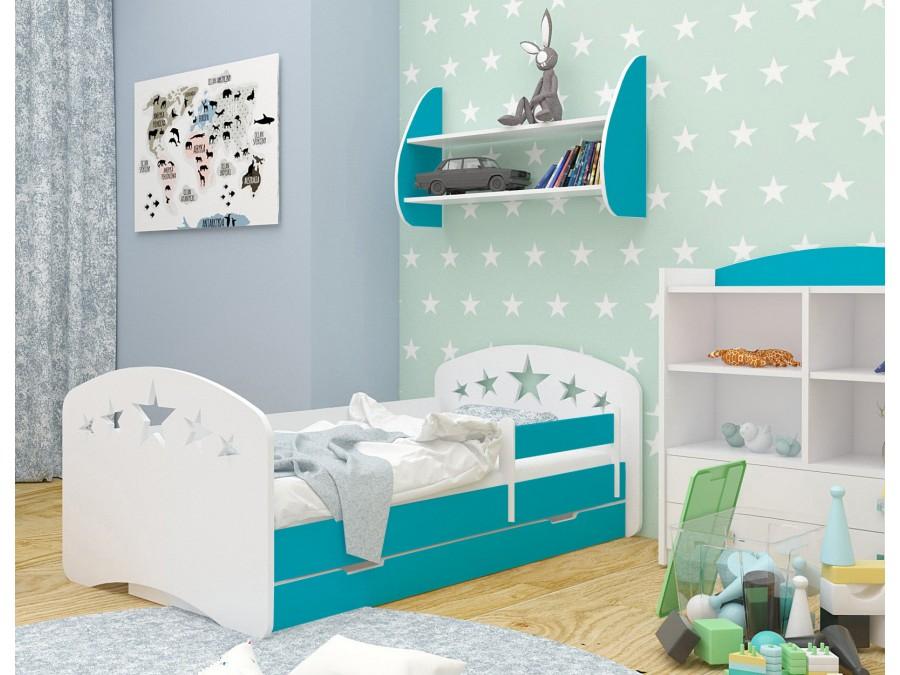 Happy Babies Detská posteľ Happy dizajn/hviezdičky Farba: Modrá / biela, Prevedenie: L04 / 80 x 160 cm /S úložným priestorom, Obrázok: Hviezdičky