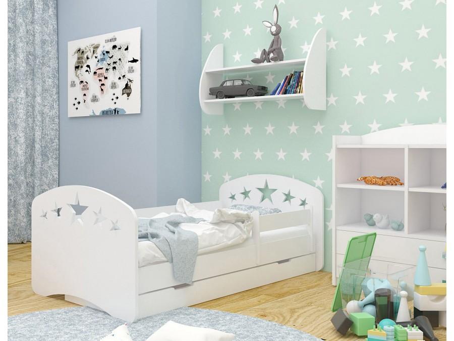 Happy Babies Detská posteľ Happy dizajn/hviezdičky Farba: Biela / biela, Prevedenie: L04 / 80 x 160 cm /S úložným priestorom, Obrázok: Hviezdičky