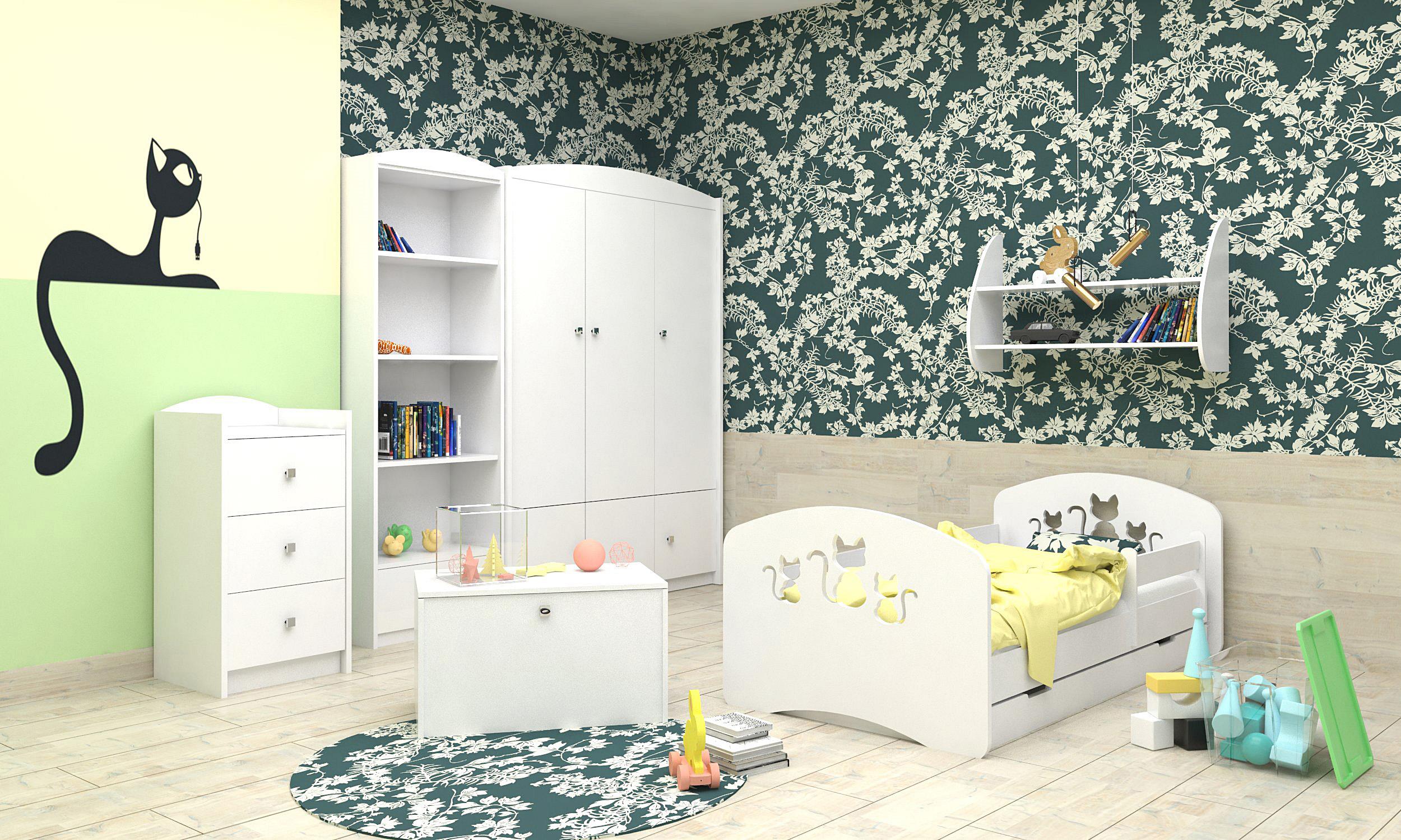 Happy Babies Detská posteľ Happy dizajn/mačičky Farba: Biela / biela, Prevedenie: L04 / 80 x 160 cm /S úložným priestorom