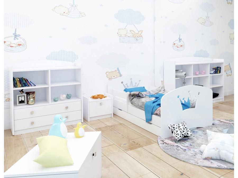 Happy Babies Detská posteľ Happy dizajn/korunka Farba: Biela / biela, Prevedenie: L04 / 80 x 160 cm /S úložným priestorom