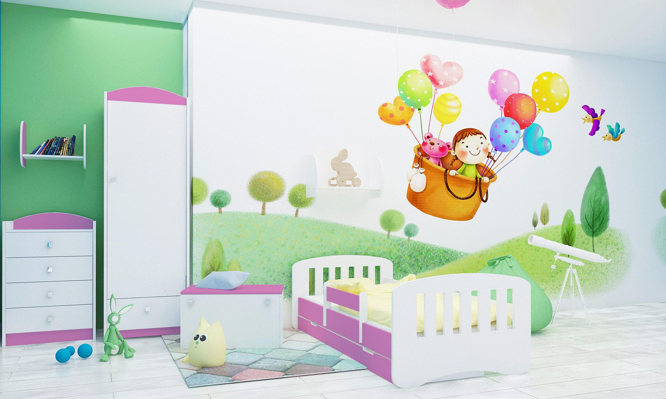 Happy Babies Detská posteľ Happy dizajn/čiarky Farba: Ružová / Biela, Prevedenie: L04 / 80 x 160 cm /S úložným priestorom, Obrázok: Čiarky