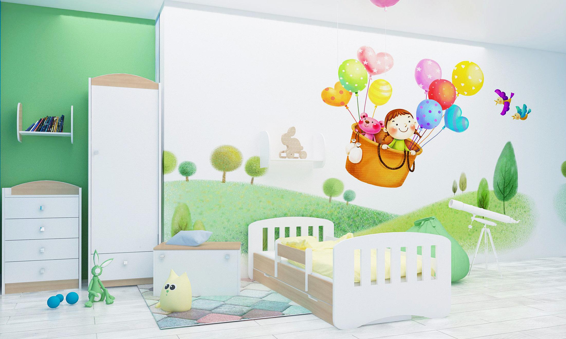 Happy Babies Detská posteľ Happy dizajn/čiarky Farba: Hruška / Biela, Prevedenie: L04 / 80 x 160 cm /S úložným priestorom, Obrázok: Čiarky