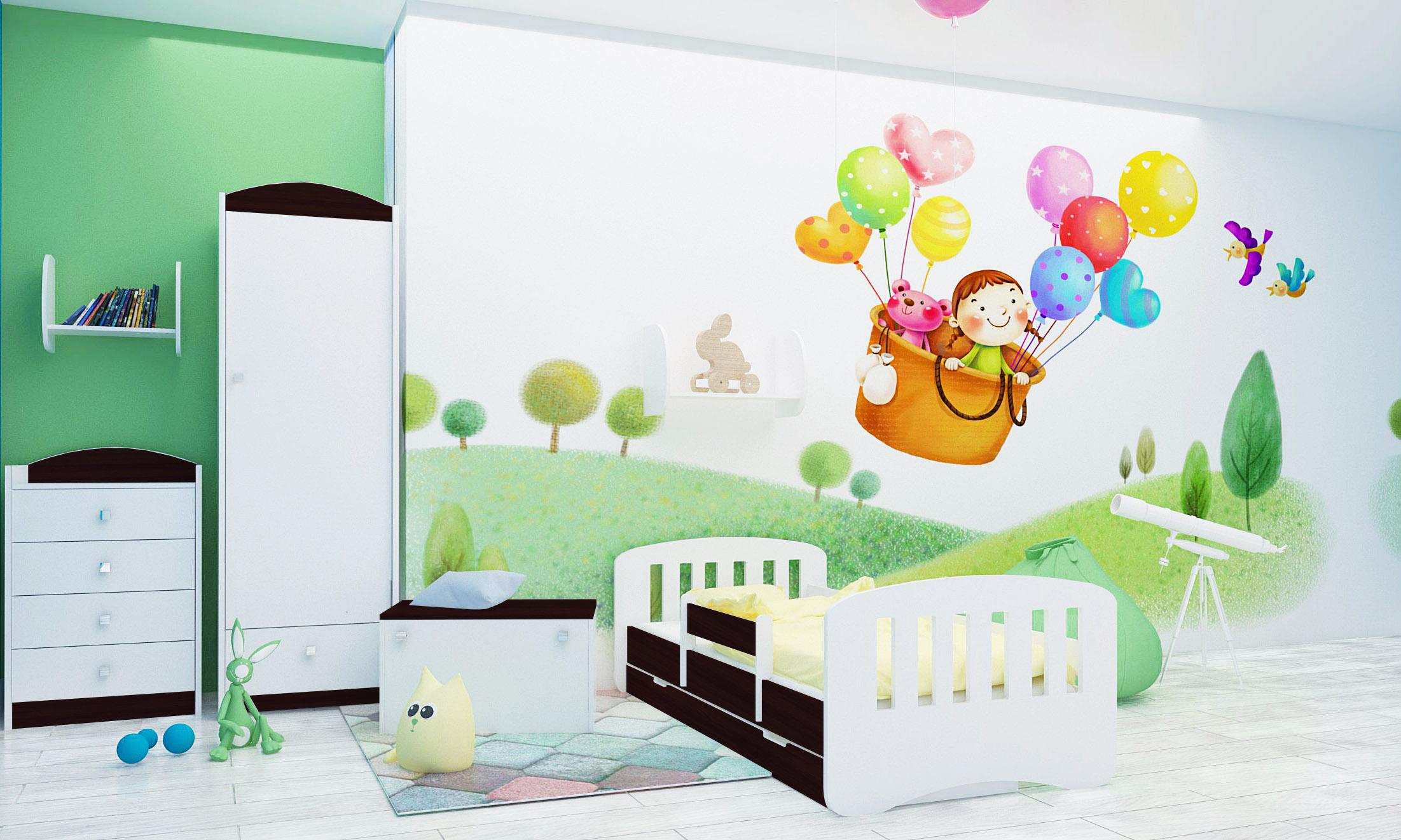 Happy Babies Detská posteľ Happy dizajn/čiarky Farba: Gaštan Wenge / Biela, Prevedenie: L04 / 80 x 160 cm /S úložným priestorom, Obrázok: Čiarky