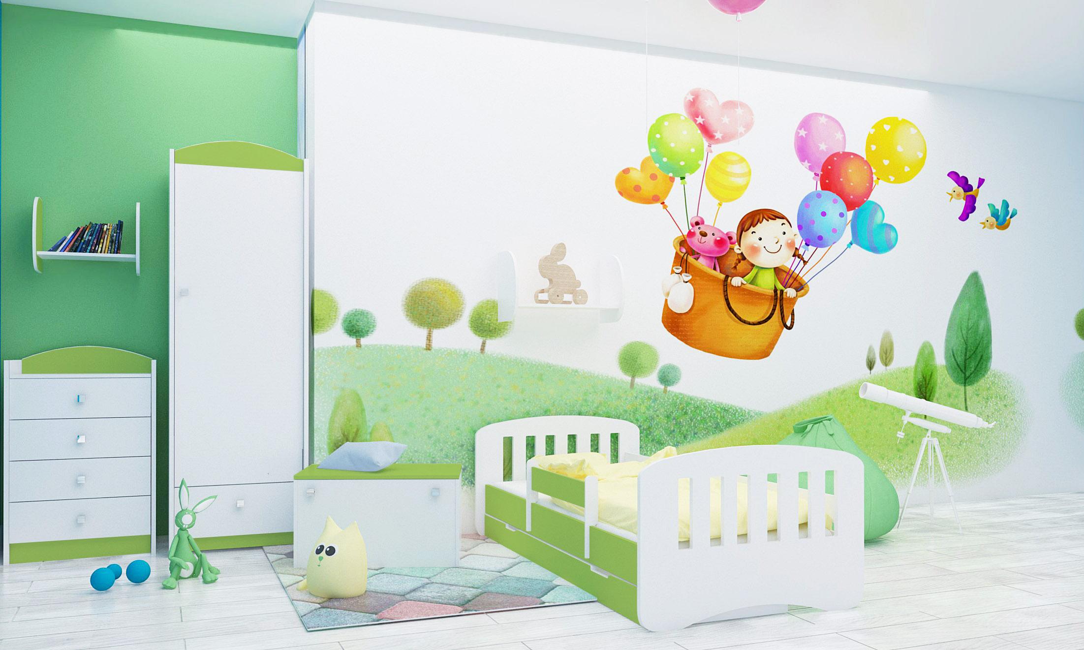 Happy Babies Detská posteľ Happy dizajn/čiarky Farba: Zelená / Biela, Prevedenie: L04 / 80 x 160 cm /S úložným priestorom, Obrázok: Čiarky