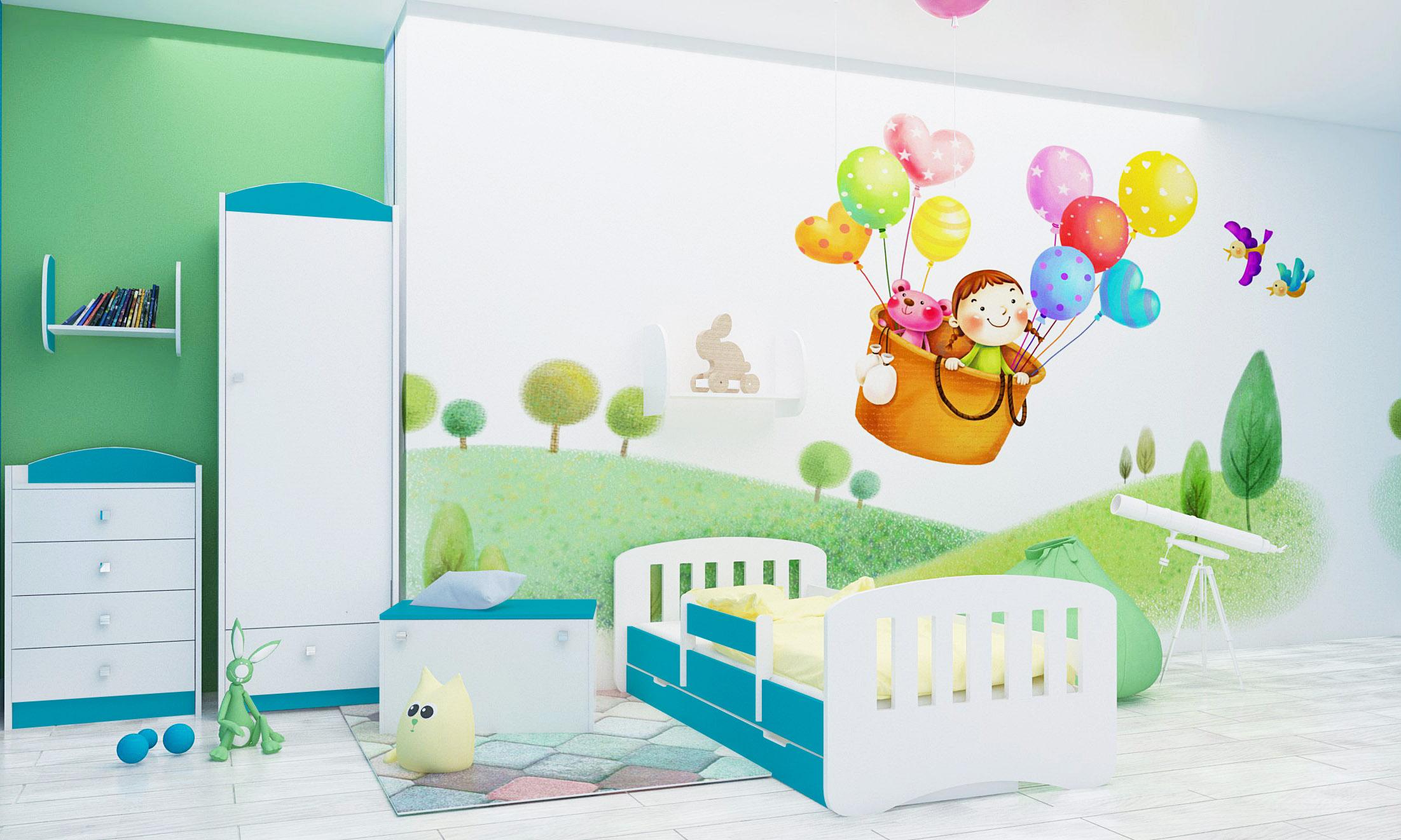 Happy Babies Detská posteľ Happy dizajn/čiarky Farba: Modrá / biela, Prevedenie: L04 / 80 x 160 cm /S úložným priestorom, Obrázok: Čiarky